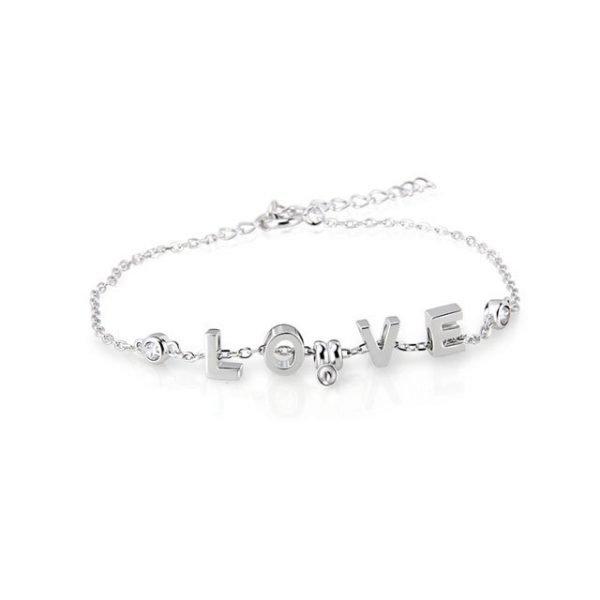 Sterling Silver Love Bracelet Pearl
